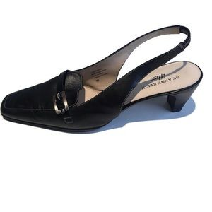 Anne Klein i-flex black leather slingback size 9